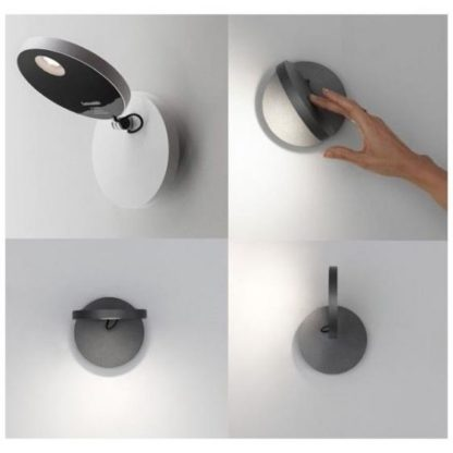 Biały kinkiet Demetra Faretto Parete - LED, z włącznikiem, ściemniacz