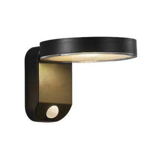 Kinkiet solarny Rica Round - Nordlux, czarny, czujnik ruchu