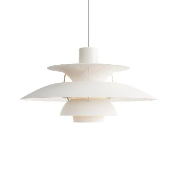 biała lampa wisząca nowoczesny klosz