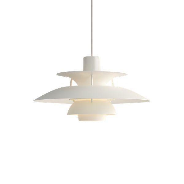 biała lampa z warstwowym kloszem