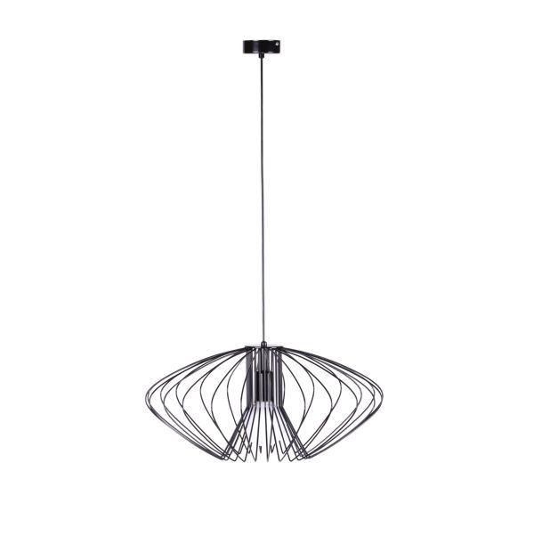 Czarna lampa wisząca Tizi - druciany klosz