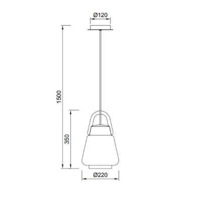 Zewnętrzna lampa wisząca Kinké - wąski klosz, IP44