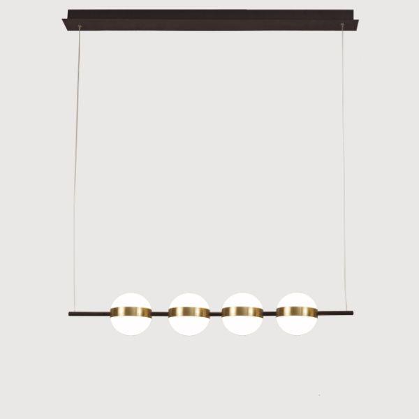Podłużna lampa wisząca Cuba - 4 mleczne klosze, LED