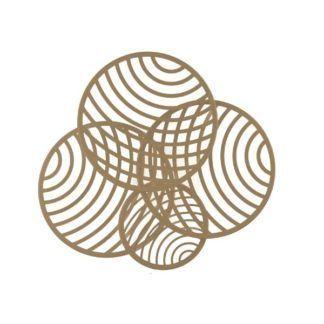 Złota lampa sufitowa Collage - 4 ażurowe koła, LED