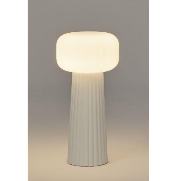 Biała lamap stołowa Faro - ceramiczna podstawa