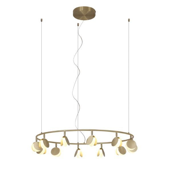 Elegancka lampa wisząca Shell L - złoty ring, LED