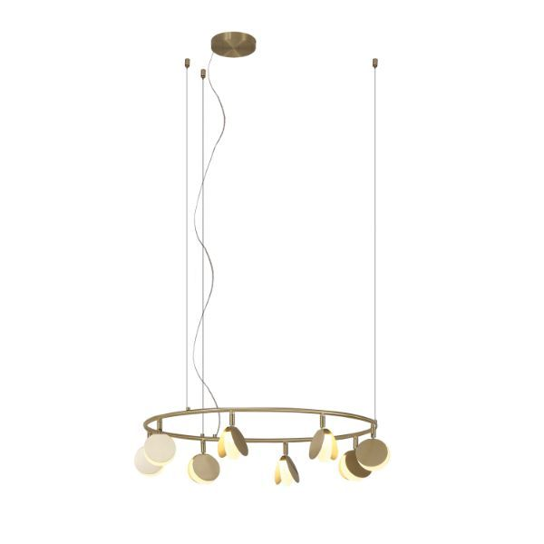 Okrągła, złota lampa wisząca Shell M - zintegrowany LED