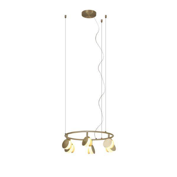 Nowoczesna lampa wisząca Shell S - złoty okrąg, LED