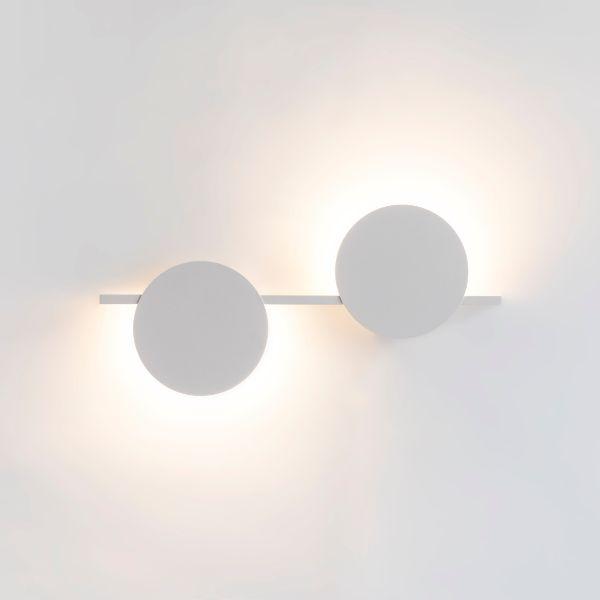 Podwójny kinkiet Eris - białe kółka, LED