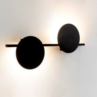 Designerski kinkier Eris - dwa czarne kółka, LED