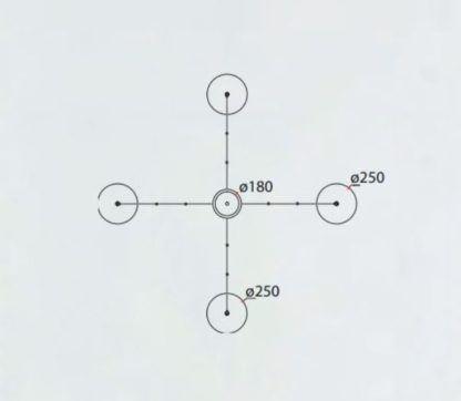 Lampa wisząca Orion - 4 klosze, długie zawieszenie
