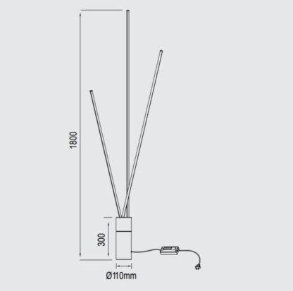Czarna lampa podłogowa Vertical - wydajne listwy LED