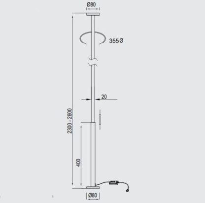 Lampa sufitowa Vertical M - listwa LED, czarna