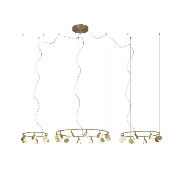 Efektowna lampa wisząca Shell - satynowe złoto, LED