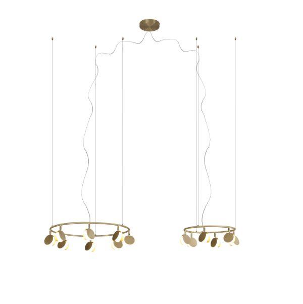 Złota lampa wisząca Shell - podwójny ring, LED