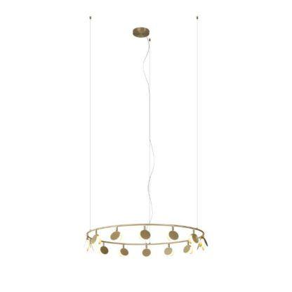 Złota lampa wisząca Shell XL - metalowy okrąg, LED