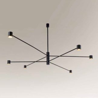 Duża lampa wisząca Sakata - 6 ramion, LED, czarna