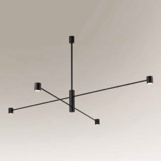 Nowoczesna lampa wisząca Sakata - czarna, regulowane klosze
