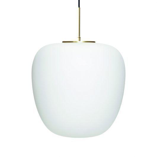 Biała lampa wisząca Apple - szklany klosz, złote detale