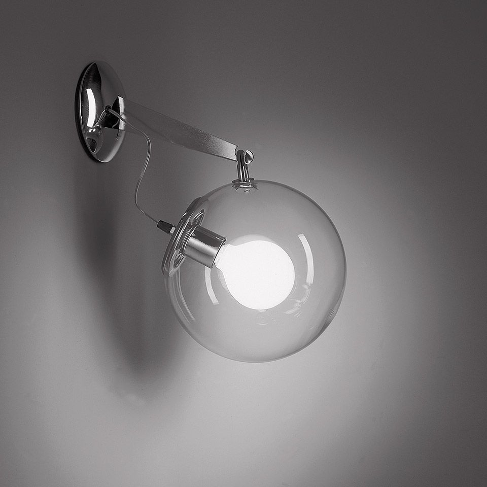 Srebrny kinkiet Miconos Parete - szklana kula