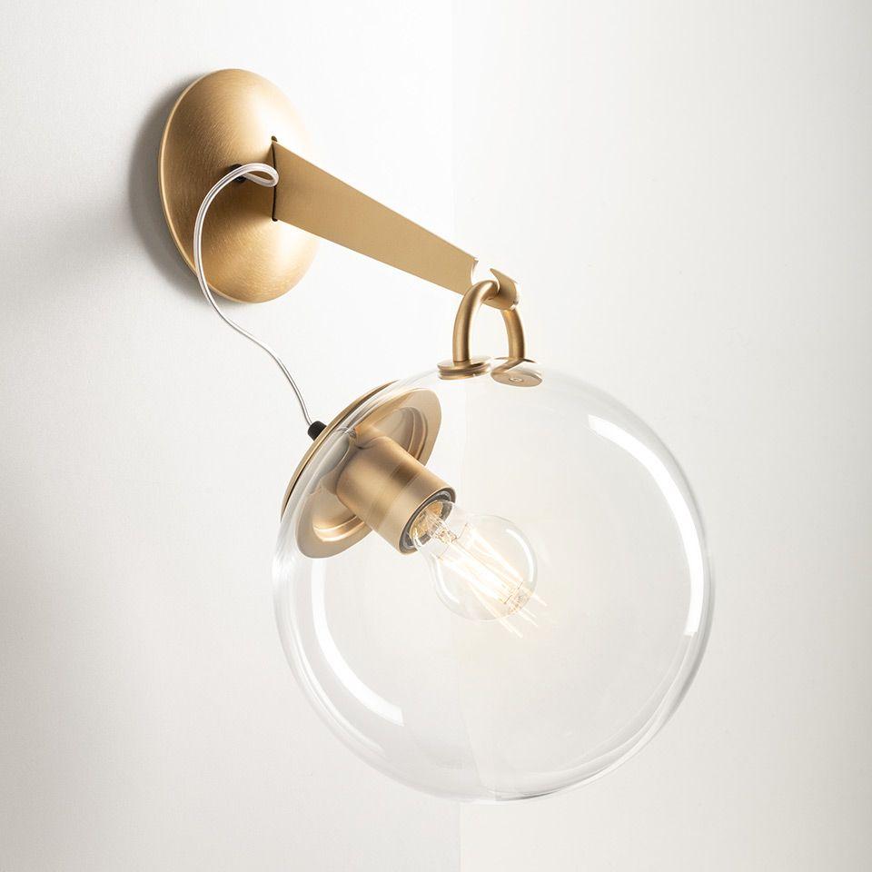 Złoty kinkiet Miconos Parete - szklany klosz