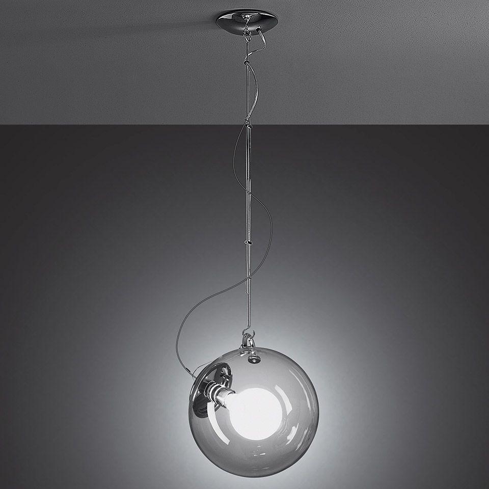 Srebrna lampa wisząca Miconos - szklany klosz