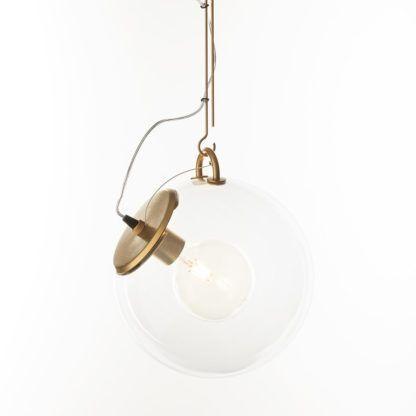 Złota lampa wisząca Miconos - szklany klosz