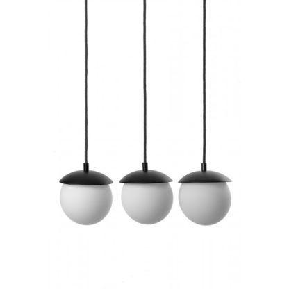 lampa wisząca z mlecznymi kloszami czarna