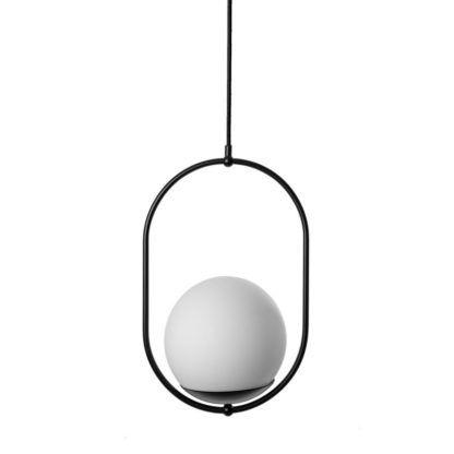 czarno-biała lampa wisząca do jadalni