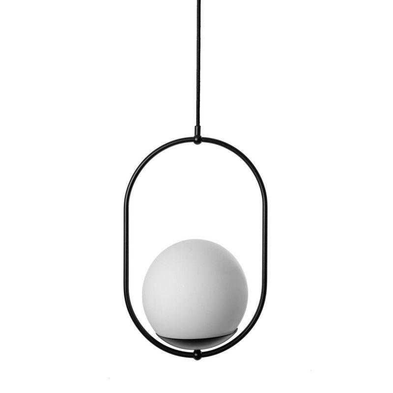 Czarna lampa wisząca Koban - szklana kula