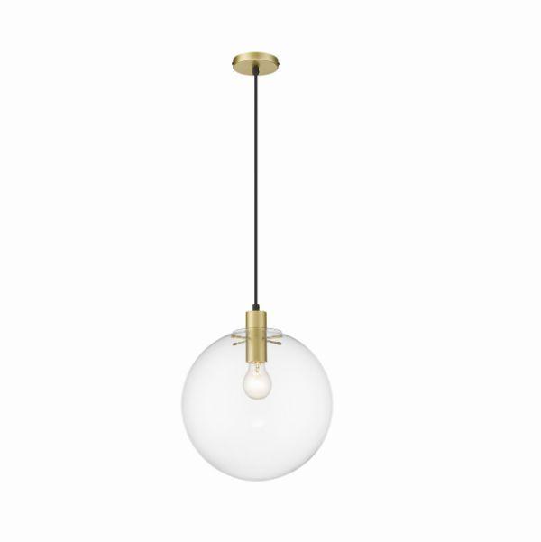 Lampa wisząca Puerto L - szklany klosz, złota