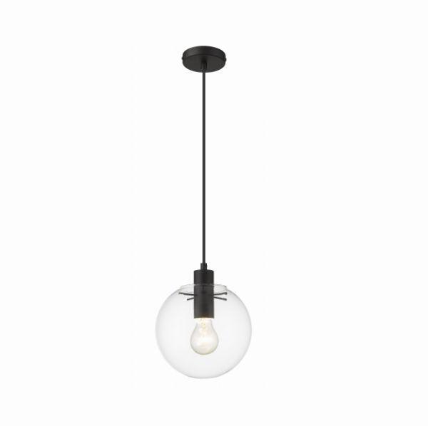 Lampa wisząca Puerto S - szklany klosz, czarna