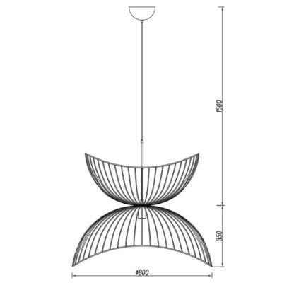 Efektowna lampa wisząca Flower - druciany klosz