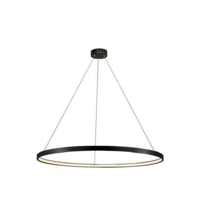 czarna lampa wisząca led ring