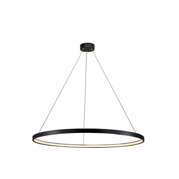 Nowoczesna lampa wisząca Ring - 66cm, czarna, 4000K