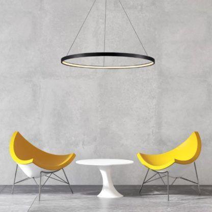 czarny ring ledowa lampa do salonu