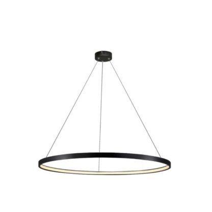 duża czarna lampa wisząca led ring