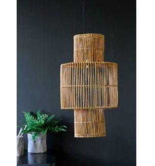 Rattanowa lampa wisząca Eve - wysoki klosz, naturalne kolory