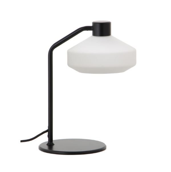 Lampa stołowa Mayor - szklany klosz, czarna baza