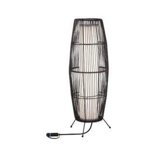 Lampa stojąca Kosz Plug&Shine M - rattanowy klosz