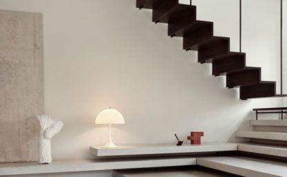 biała lampa stołowa tworzywo nowoczesna