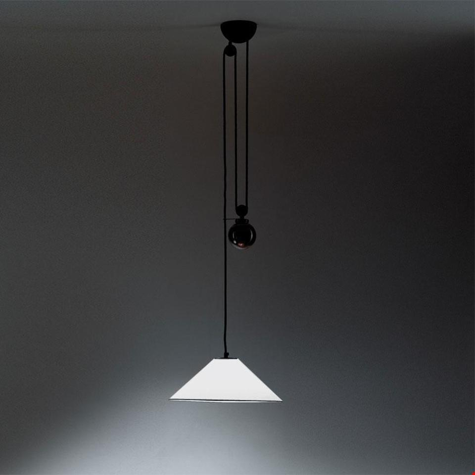 Elegancka lampa wisząca Aggregato Saliscendi  Cone M - biały klosz