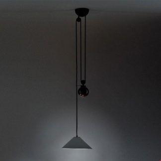Duża lampa wisząca Aggregato Saliscendi Cone M - szara