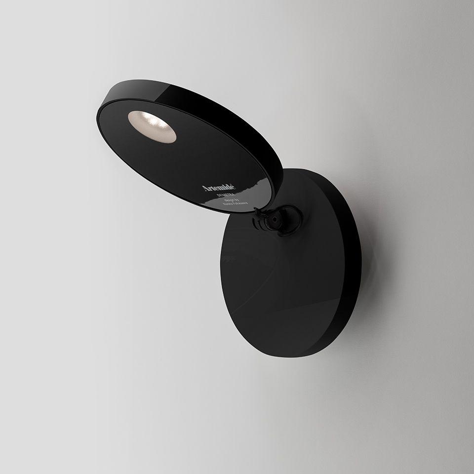 Czarny kinkiet Demetra Faretto Parete - LED, zintegrowany ściemniacz, z włącznikiem