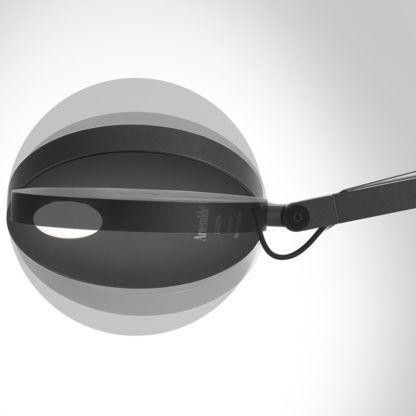 Nowoczesny, regulowany kinkiet Demetra Parete - czarny, ściemniacz, czujnik ruchu