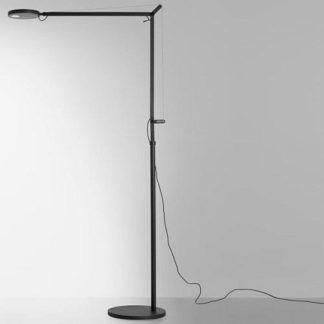 Szara lampa podłogowa Demetra - regulowana, ściemniacz