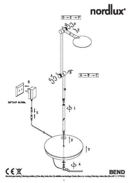 Czarna, nowoczesna lampa podłogowa Bend - Nordlux, LED