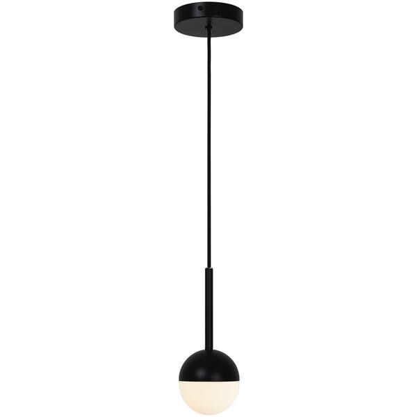 czarna lampa wisząca z mleczną kulką