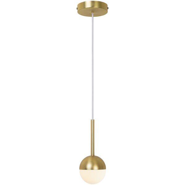 złota lampa wisząca z mleczną kulką