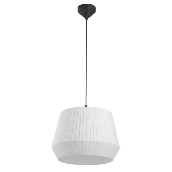 biała lampa wisząca z dużym abażurem